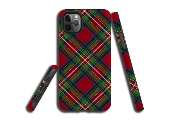 Red Green Plaid Tartan iPhone 11 case, iPhone XR, Galaxy Note 10, iPhone 8 Plus, iPhone XS, Galaxy S8, iPhone 7, Galaxy S9 Plus, Galaxy S10