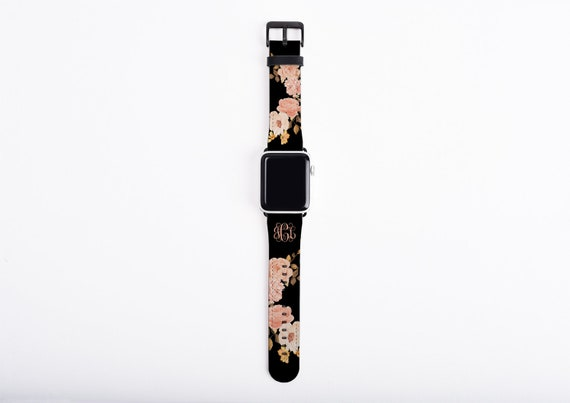 Blush roses custom Apple Watch Band golden peach roses monogram, faux leather, 38 mm, 42 mm, custom iWatch, personalized Apple watch strap