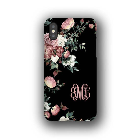 Vintage Shabby Chic Roses Monogrammed Iphone Xs Case Iphone