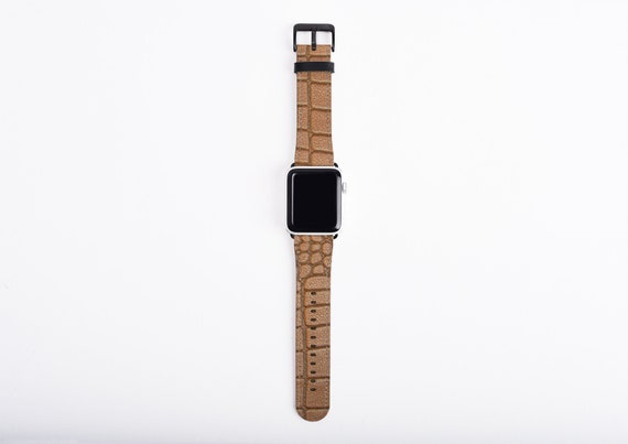 Crocodile Skin Print Apple Watch Band for men, 38mm 40mm 42mm 44,mm, faux leather Alligator Apple watch strap, vegan artificial leather