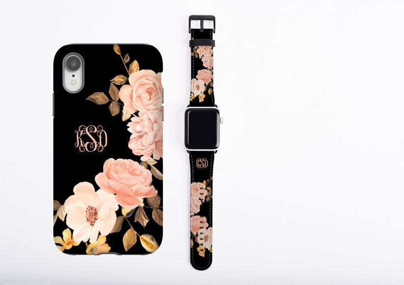 Roses iPhone case & Apple Watch Band Set monogrammed phone image 0