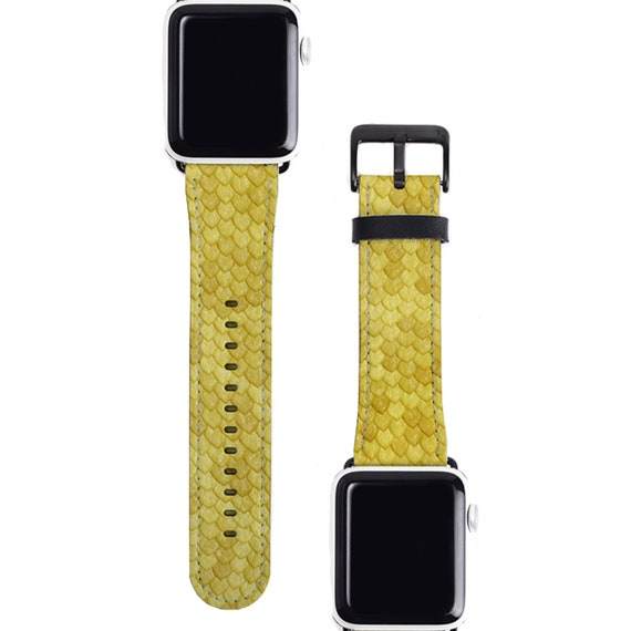 Snakeskin Apple watch band 38mm women, Snakeskin Print Yellow, 38mm 40mm 42mm 44,mm, faux leather Apple watch strap, fits series 1 2 3 and 4