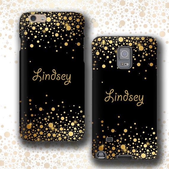 Black gold Personalized iPhone XS case Samsung Galaxy Note 9 iPhone 8 iPhone 11 Pro Max Galaxy S7 Edge iPhone SE Galaxy S10 Plus custom name