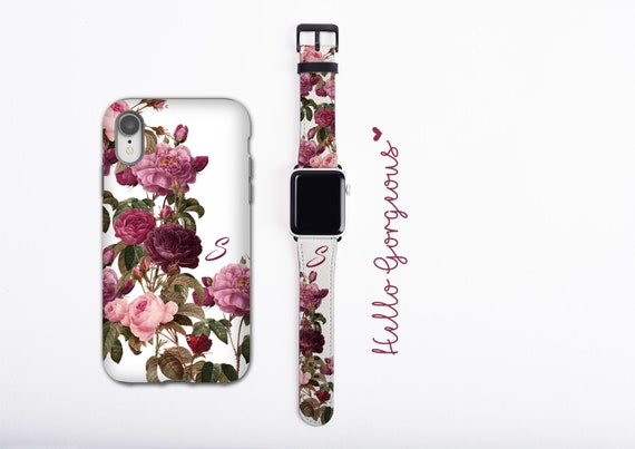 Roses and butterfly iPhone case & Apple Watch Band Set, personalized phone case and watch band, initial iPhone case, faux leather, 38 /42 mm