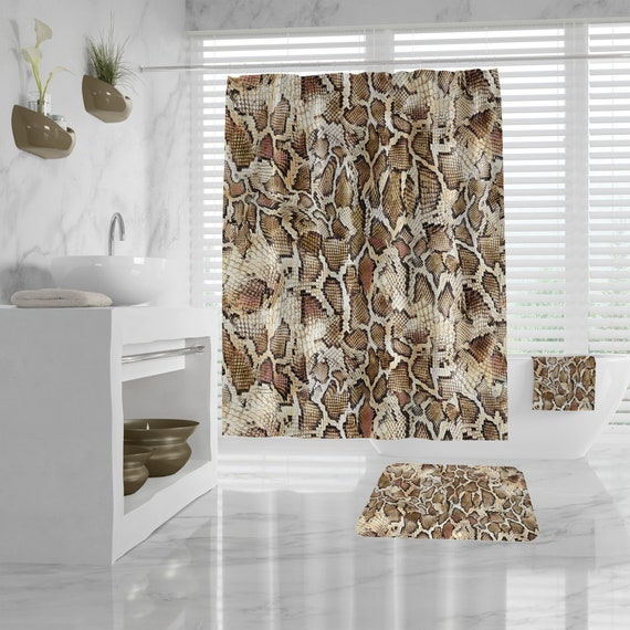 Snakeskin Shower Curtain, Animal Print Bath Decor, snake skin print bath mat, hand towels, bath towel, snakeskin pattern bathroom decoration