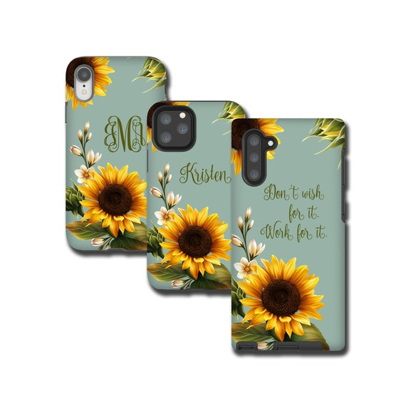 Sunflowers custom iPhone 11 Case, Sun Flower monogram iPhone XR, Galaxy Note 10 Plus, iPhone 8 Plus, Galaxy S10, Galaxy Note 9, iPhone 7
