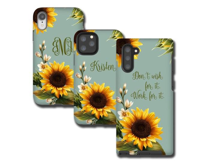 Sunflowers custom iPhone 13 Case, Sun Flower monogram iPhone XR, Galaxy Note 10 Plus, iPhone 8 Plus, Galaxy S10, Galaxy Note 9, iPhone 7