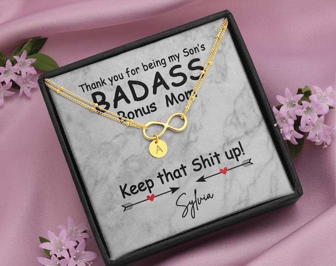 Badass Bonus Mom Gift, Personalized Bracelet for Son's Step Mother, Unbiological Mom Gift, Biological Mom to Bonus Mom, Foster Mom Gift Idea