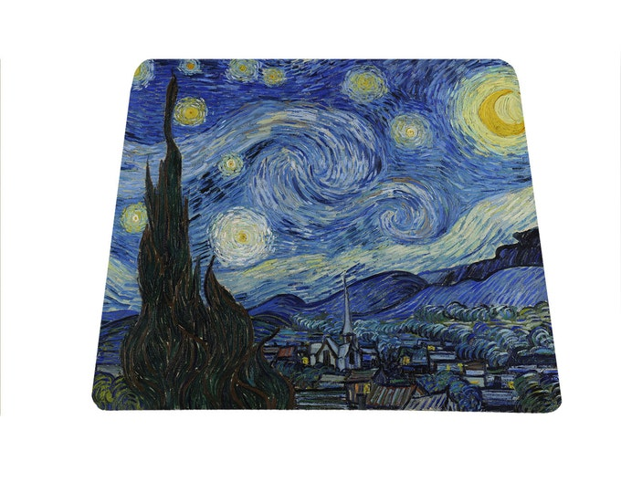 The Starry Night Vincent Van Gogh mouse pad mousepad mouse mat art lover crescent moon gift for art teacher