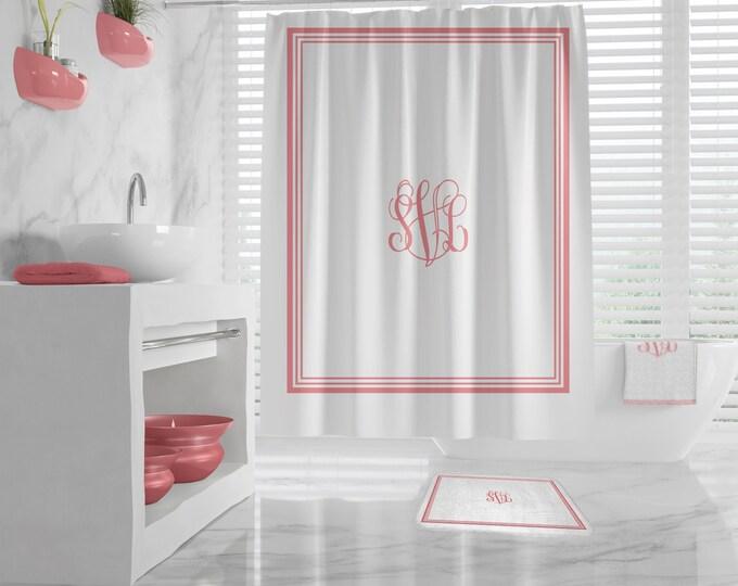 Custom Monogram Shower Curtain, Custom Monogram Bath Mat, monogrammed towel, classy design Bath Decor, Bathroom, Dorm, Girl, custom Initials