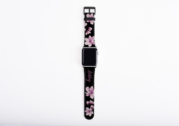 Magnolia Apple Watch Band, custom name floral watch strap, purple, faux leather, 38/40 mm, 42/44 mm, custom iWatch, unique Apple watch strap