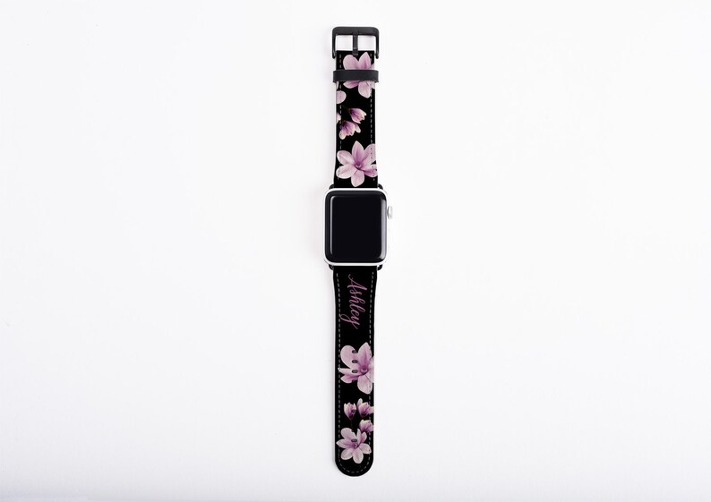 Magnolia Apple Watch Band custom name floral watch strap image 1