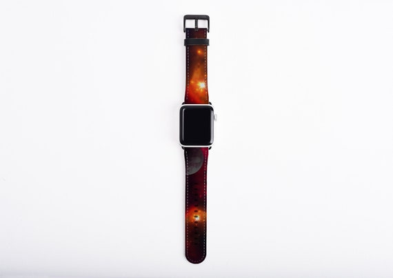 Cosmic Space Apple Watch Band, Astronomy Apple watch strap, Planet, Sky Space Galaxy, artificial leather, 38 40 42 44mm, fits all series
