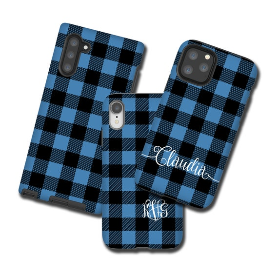 Buffalo Plaid iPhone 11 Case, monogram blue Tartan Samsung Galaxy S10 Plus, iPhone XS, Galaxy Note 10, iPhone 8 Plus, iPhone 7, Galaxy S9