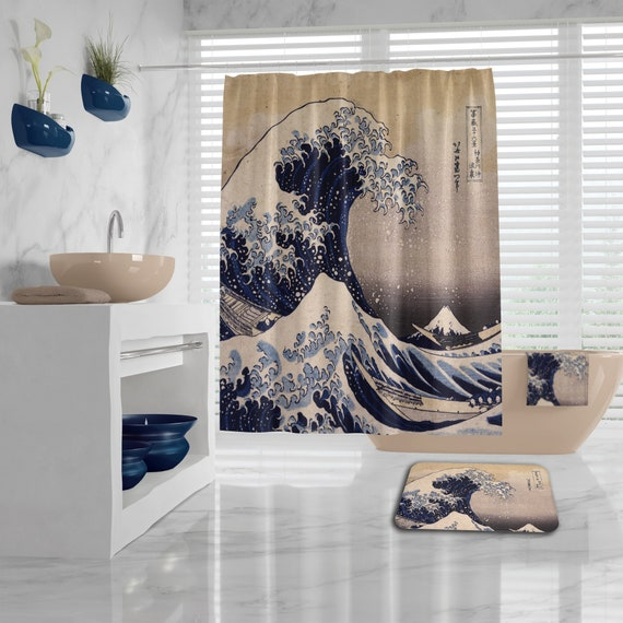 The Great Wave off Kanagawa Shower Curtain, different sizes, Bath Mat, Bath Towel, Hand Towel, art bathroom decor, bathroom set, art teacher