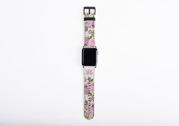 Peonies Apple Watch Series 4 Band lilac, monogrammed floral watch strap, faux leather, 42mm Apple Watch Band, 38mm iwatch band series 4
