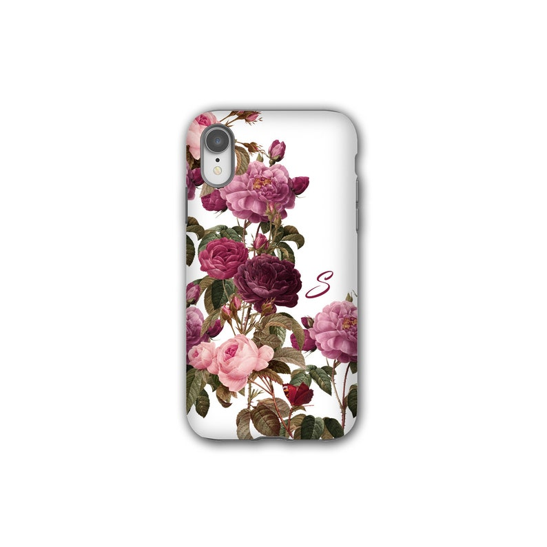 Pink shabby chic roses butterfly iPhone xs max case custom image 0