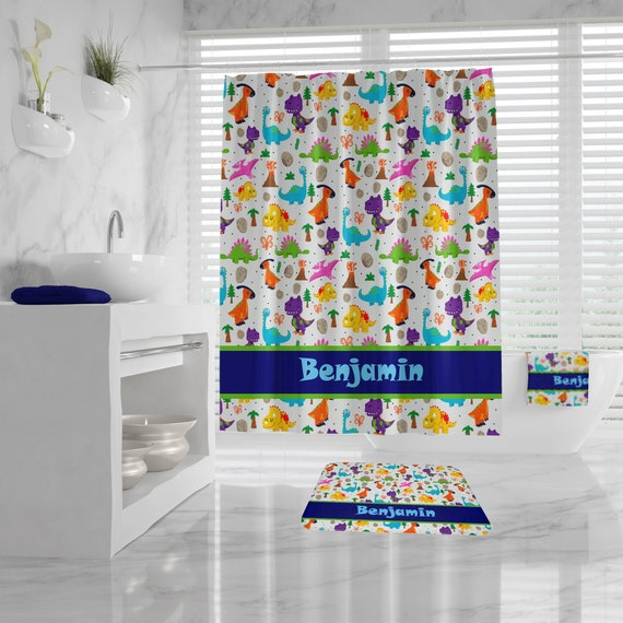 Cute Custom Dinosaur Shower Curtain, Monogrammed Name for Boys, Dinosaur Bath Mat and Towel, Kids Bathroom,customizable blue Bathroom Decor