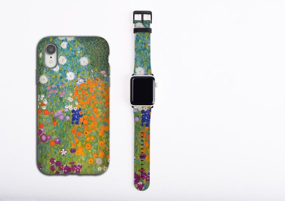 Gustav Klimt Cottage Garden Apple Watch band and iPhone case set, apple watch strap, iPhone XS case, iPhone 8, iPhone xr, faux vegan leather
