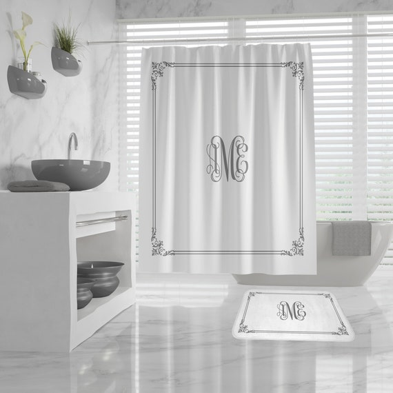 Custom Monogram Shower Curtain, vintage border, Custom Monogram Bath Mat, classy design Bath Decor, Girls Bathroom, Dorm, custom Initials