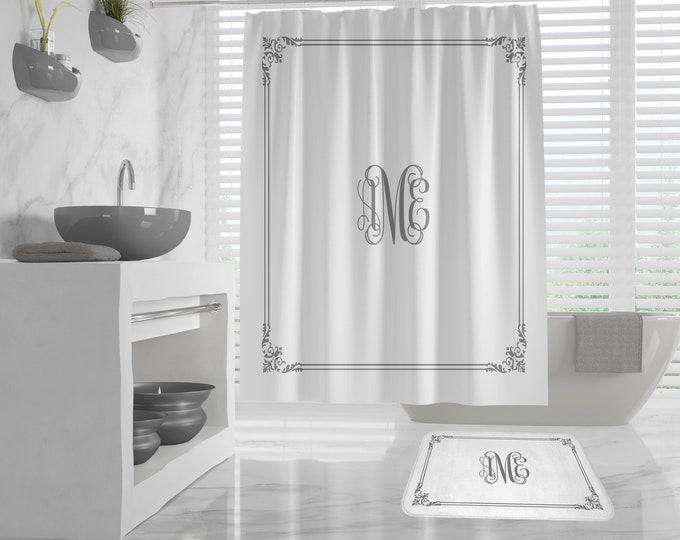 Custom Monogram Shower Curtain, vintage border, Custom Monogram Bath Mat, classy design Bath Decor, Girls Bathroom, Dorm, custom Initials