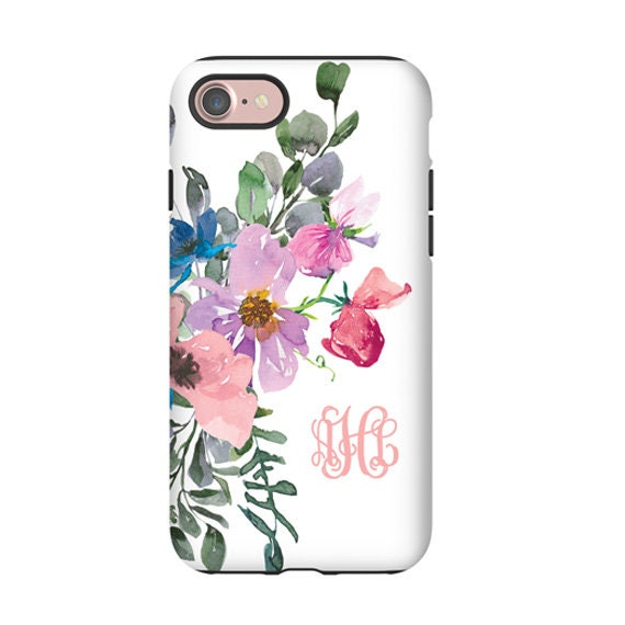 iPhone 11 Pro Max case, Samsung Galaxy S9 Watercolor Blush Pink Purple Blue Flower Bouquet monogram iPhone XS iPhone 8 Galaxy Note 9 iPhone7