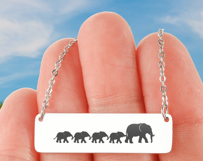 Cute Mother's Gift Mama and Baby Elephants Necklace silver or gold optional custom engraving on the back cute gift for mom from daughter