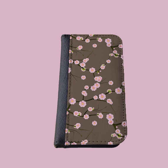 Cherry Blossom pink blossom floral Samsung Galaxy S5 case Galaxy S6 iPhone 7 wallet iPhone 8 Plus case Galaxy Note 4 cover