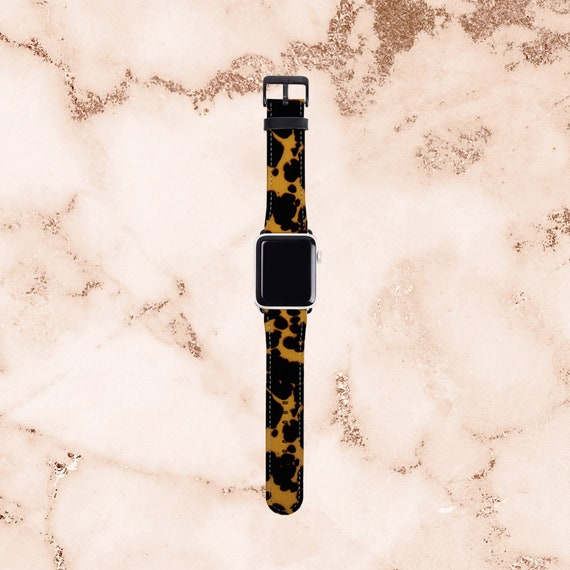 Tortoise Shell Print Apple Watch Band 38 mm for women, artificial leather, 40 mm, 42 mm, 44 mm, Apple watch strap for her, fits all series