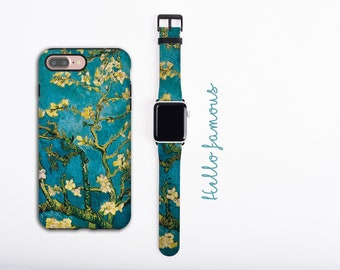 Almond Blossoms Van Gogh iPhone 13 case & Apple Watch Band, iPhone 11 Pro Max case set, iPhone XR iPhone 8 plus faux leather, 38 40 42 44mm
