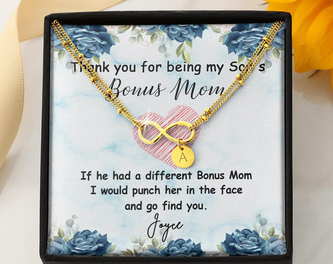 Unbiological Mom Gift, Biological Mom to Bonus Mom, Thank you for being my son's Bonus Mom Bracelet, Stepmom Gift from Mother to Foster Mom