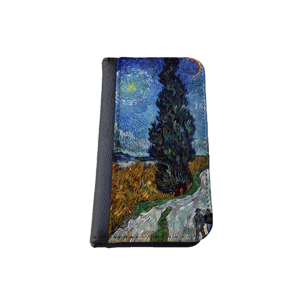 Vincent van Gogh Road with cypress and star phone wallet case Samsung Galaxy S4 iPhone wallet iPhone 6 Plus Galaxy S6 Samsung S5 iphone 4s
