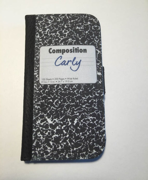 Composition Book, personalized with name, phone wallet Samsung Galaxy S4 Galaxy Note 3 iPhone 5c iPhone 6s Plus  SG S6 Edge gift for teacher