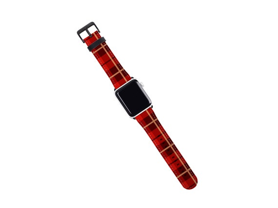 Red Plaid Tartan Apple Watch Band 40mm women, Holiday season plaid iwatch band, artificial leather, 42mm, fits all series, Apple watch strap