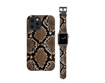 Snakeskin iPhone case 12 Pro Max & Apple Watch Band all series, Animal Print Watch Band Phone Case Bundle iPhone 11 iPhone 8 Plus iPhone 13