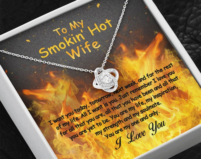 To My Smoking Hot Wife Necklace 14K white gold finish, Anniversary love gift for wife from husband, Gift for Hot Wife, ready to be gifted