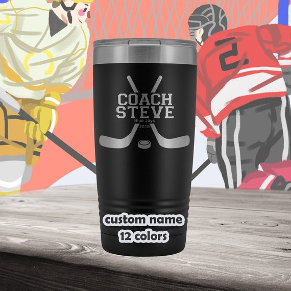 Hockey Coach Personalized Tumbler - 20oz Insulated Stainless Steel Travel Mug - customized Ice Hockey Team gift - Gift for hockey coaches