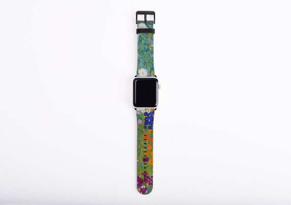 Apple Watch Strap, Gustav Klimt Cottage Garden, artificial leather, 38 mm, 42 mm, Art Apple watch band, gift art lovers, vegan leather band