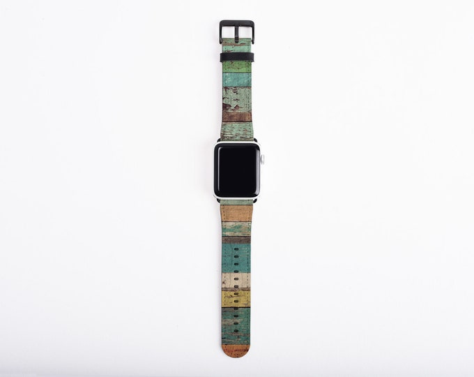 Apple Watch Band 42mm, distressed wood design, unisex, artificial leather, 38mm, 42 mm, iWatch all series, Apple watch strap, back to school