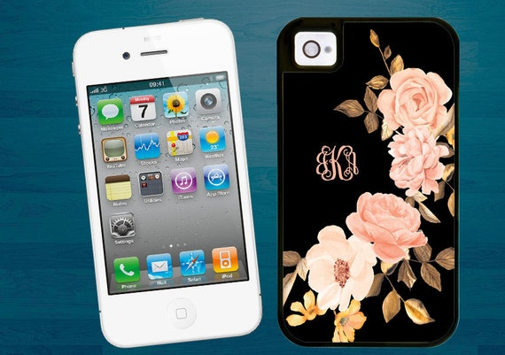 Blush Golden Roses monogrammed iPhone SE case iPhone 5s case iPhone 5 cover with extra rubber protection iPhone 4 case classy gift for women