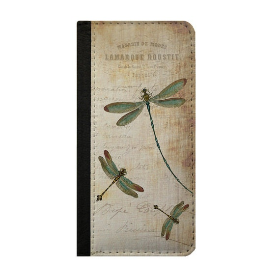 Dragonfly vintage design Galaxy S5 wallet case Galaxy S4 cover Samsung Galaxy case iPhone 6s wallet case phone wallet Galaxy note 3 case