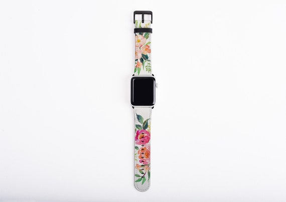 Apple Watch Strap watercolor flowers, Floral watch band, artificial leather, 38 mm, 42 mm, Apple watch band for women, vegan leather band