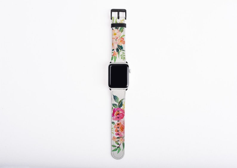 Apple Watch Strap watercolor flowers Floral watch band image 0