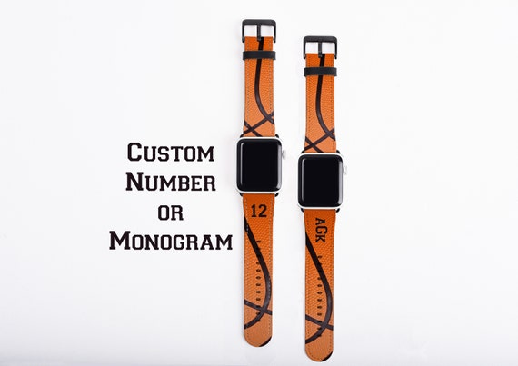 Basketball Apple Watch Band, custom number, monogram watch strap, faux leather, 38 mm, 42 mm, personalized basketball gift, basketball mom