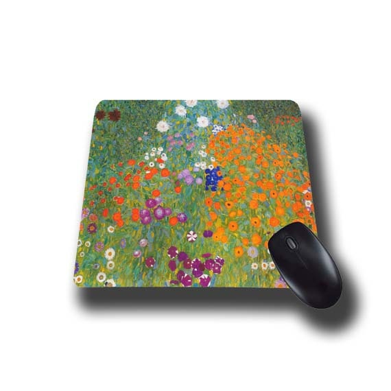 Gustav Klimt Cottage Garden Art mouse pad mousepad mouse mat Flower Garden artsy austrian painter floral office desk accessory