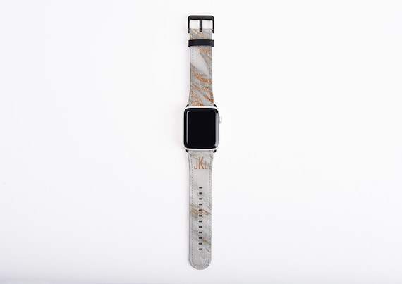 Coral Gold Marble Apple Watch Band with monogram, trendy watch strap, faux leather, 38 mm, 42 mm, custom iWatch, personalized, monogrammed