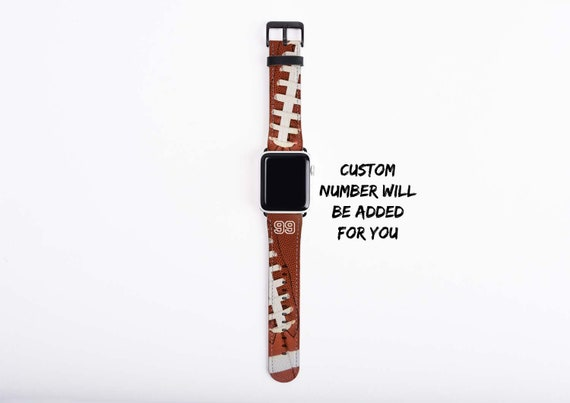 Football Apple Watch Band, custom number watch strap, faux leather, 38 mm, 42 mm, custom iWatch, personalized gift for boys, football mom