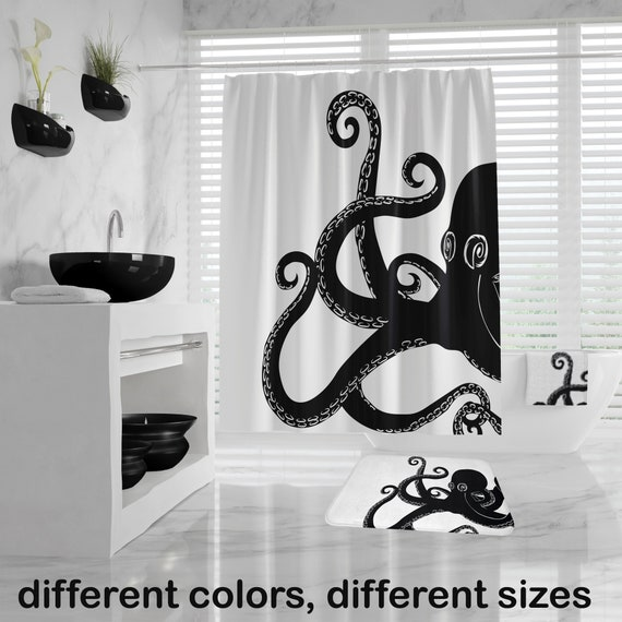 Octopus Shower Curtain, Giant Kraken Bathroom Set, Nautical Hand Towel, Bath Towel, Octopus Bath Mat, large shower curtain, different colors