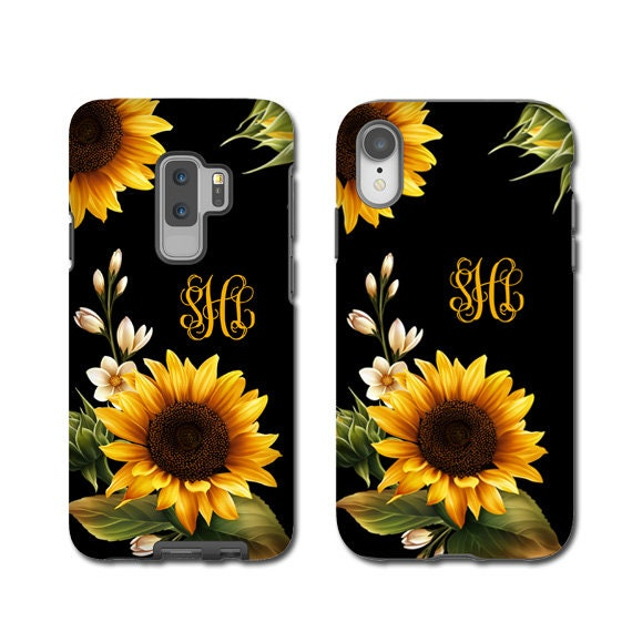 Sunflowers monogrammed iPhone XS Case, Sun Flower iPhone XR case, iPhone 8 Case, iPhone 8 Plus Case, Galaxy S10 case, Galaxy Note 9 case