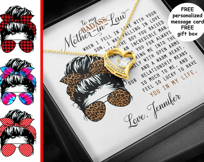 Badass Mother-in-Law heart necklace personalized card Messy Bun Leopard Print gold or silver Sarcastic Mothers Day gift from daughter in law